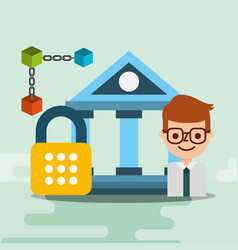 Businessman bank cyber secuirty blockchain vector