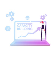 capacity building concept business woman stand on vector image