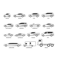 car type icon set vector image