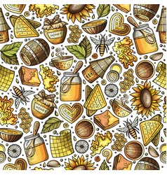 Cartoon cute honey seamless pattern vector