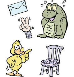 Cartoon of a set of funny clipart drawings and vector