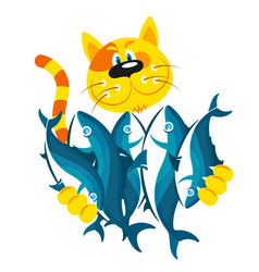 cat keeps fish in its paws vector image