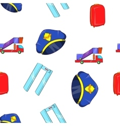Check at airport pattern cartoon style vector