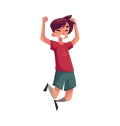 Cheerful little boy jumping from happiness vector