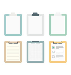 colored clipboards with paper sheets set vector image