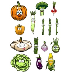 Colorful happy garden vegetables cartoon vector