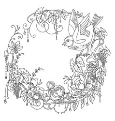 coloring flowers and birds 8 vector image