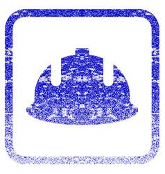 Construction helmet framed textured icon vector