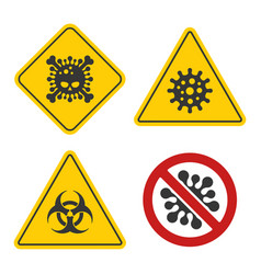 coronavirus warning and stop sign set on white vector image