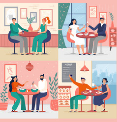 couple on date in restaurant vector image