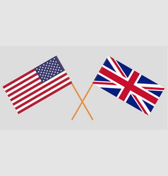 crossed flags usa and uk vector image