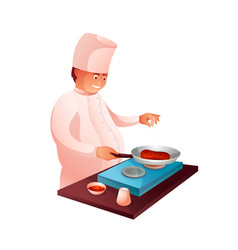 Culinary chef in kitchen flat character vector