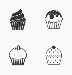 Cupcake icon set silhouette vector