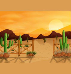 Desert landscape background with cactuses vector