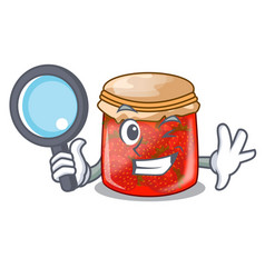 Detective strawberry marmalade in glass jar of vector