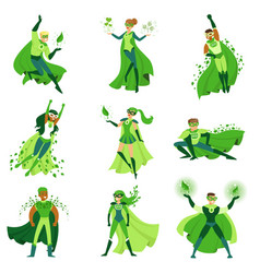 Eco superhero characters set young men and women vector