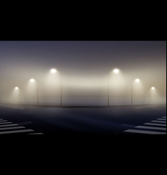 Empty foggy street at night vector