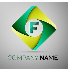 F letter colorful logo in the rhombus template for vector