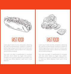 fast food hot dog posters set vector image