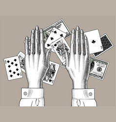 female hands with playing cards and dollars vector image