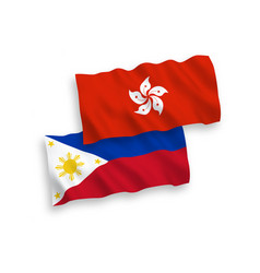 Flags philippines and hong kong on a white vector