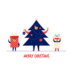 Flat cartoon boy girl family characters merry vector