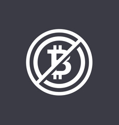 flat design negative space sign no bitcoin vector image