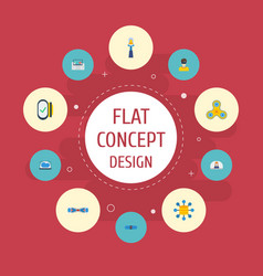 Flat icons vlog hoverboard technology and other vector