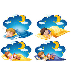 four scenes kid sleeping in bed at night time vector image