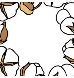 Frame from cotton stems against white background vector