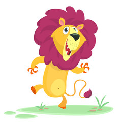 Funny cartoon lion dancing vector