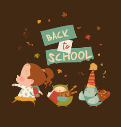 funny girl going to school with happy owls vector image