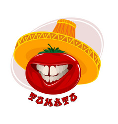 funny tomato in a hat vector image