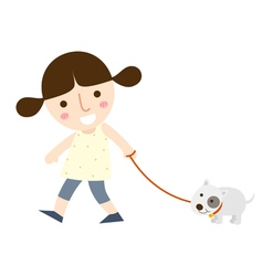 Girl and dog two vector
