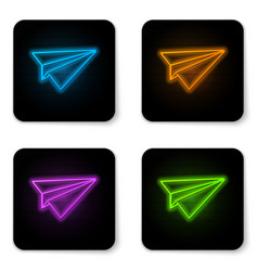 glowing neon paper plane icon isolated on white vector image