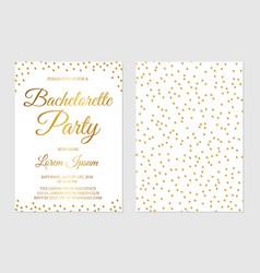 Gold glitter confetti bachelorette party vector