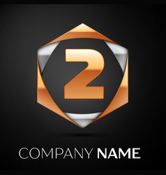 gold number two logo in golden-silver hexagonal vector image