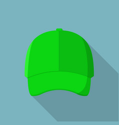 green front baseball cap icon flat style vector image