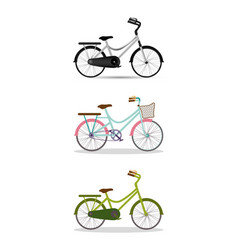 Grey blue with pink and green bikes set vector