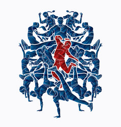 Group of people dancing street dance action vector