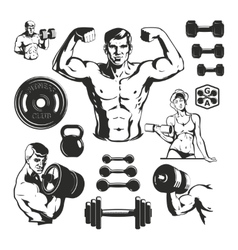 Gym Fitness Elements Set vector image