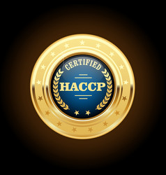 haccp certified gold medal - hazard analysis and vector image