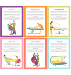 Hair styling tanning process posters text vector