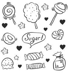 Hand draw candy various doodle style vector