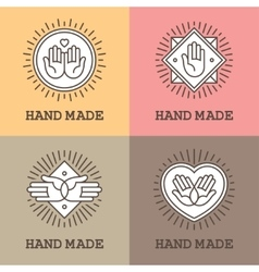 Handmade emblems with hands vector