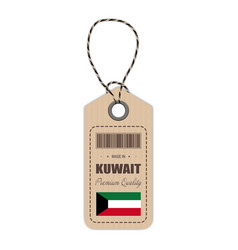 Hang tag made in kuwait with flag icon isolated on vector