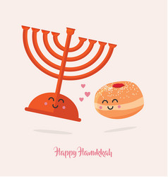 Hanukkah dougnut and menora best friends jewish vector