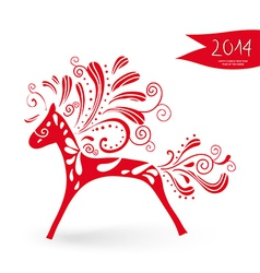 Happy Chinese New Year of the Horse postcard vector image