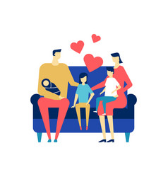 happy family - flat design style colorful vector image
