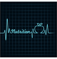 Heartbeat make nutrition word and apple stock ve vector image